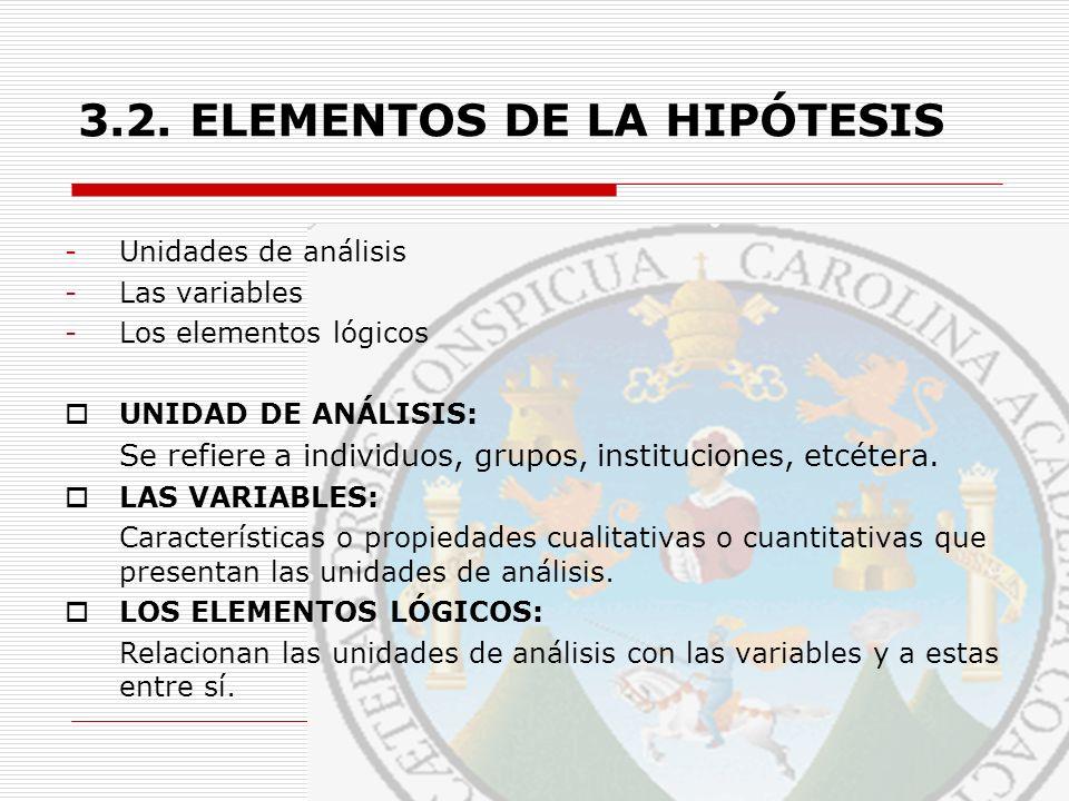 3.2. ELEMENTOS DE LA HIPÓTESIS