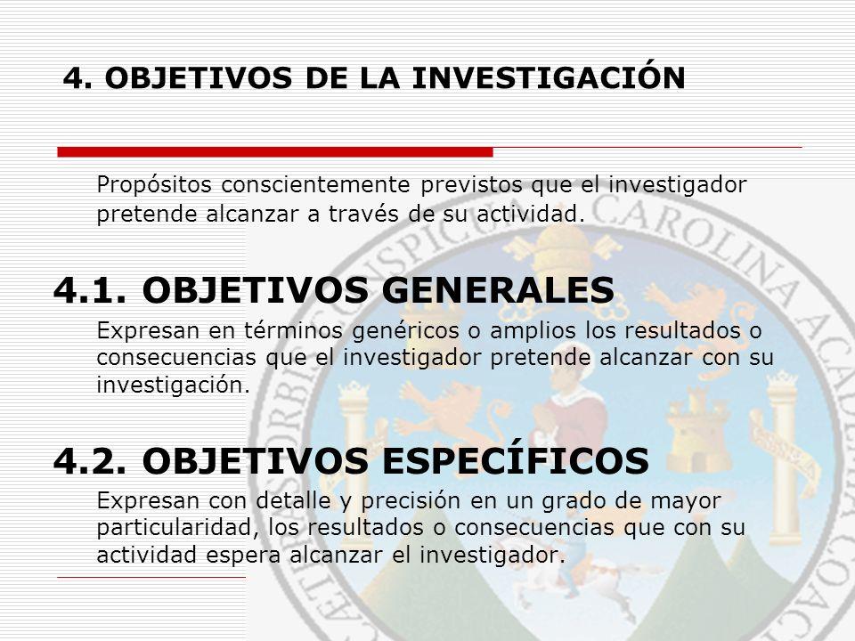 4. OBJETIVOS DE LA INVESTIGACIÓN