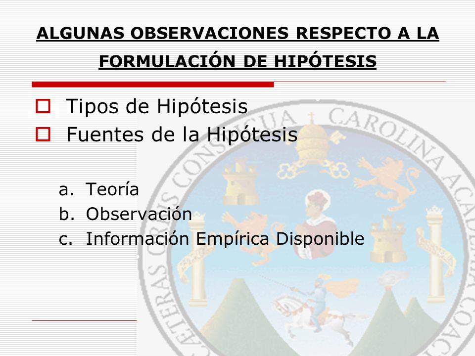 ALGUNAS OBSERVACIONES RESPECTO A LA FORMULACIÓN DE HIPÓTESIS