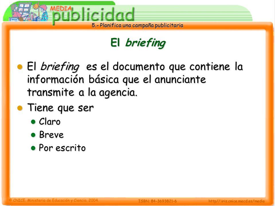 El briefing El briefing es el documento que contiene la información básica que el anunciante transmite a la agencia.