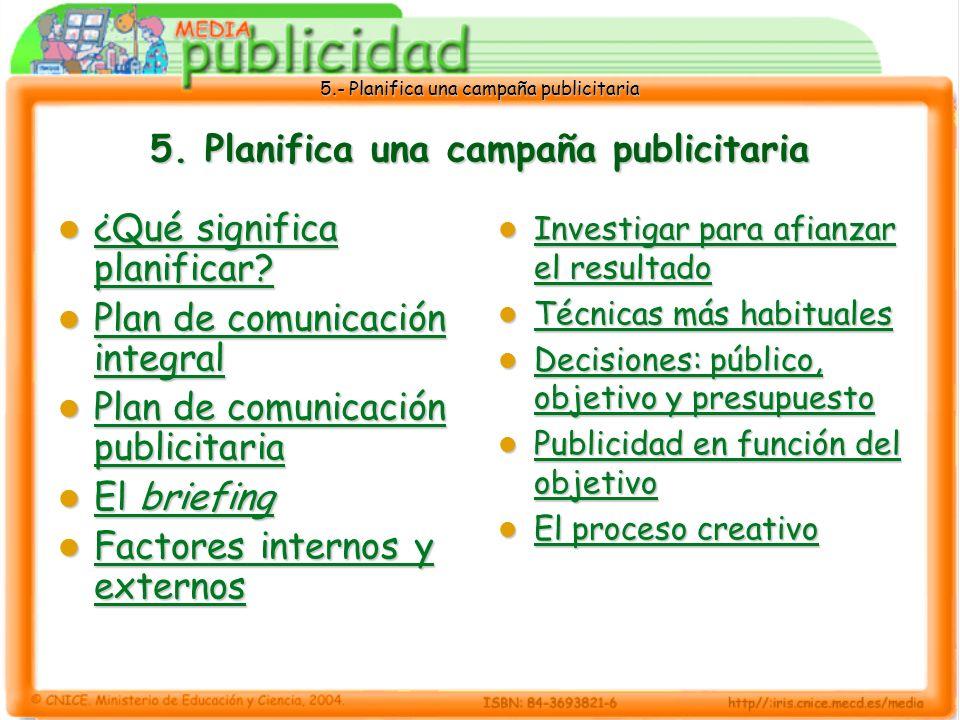 5. Planifica una campaña publicitaria