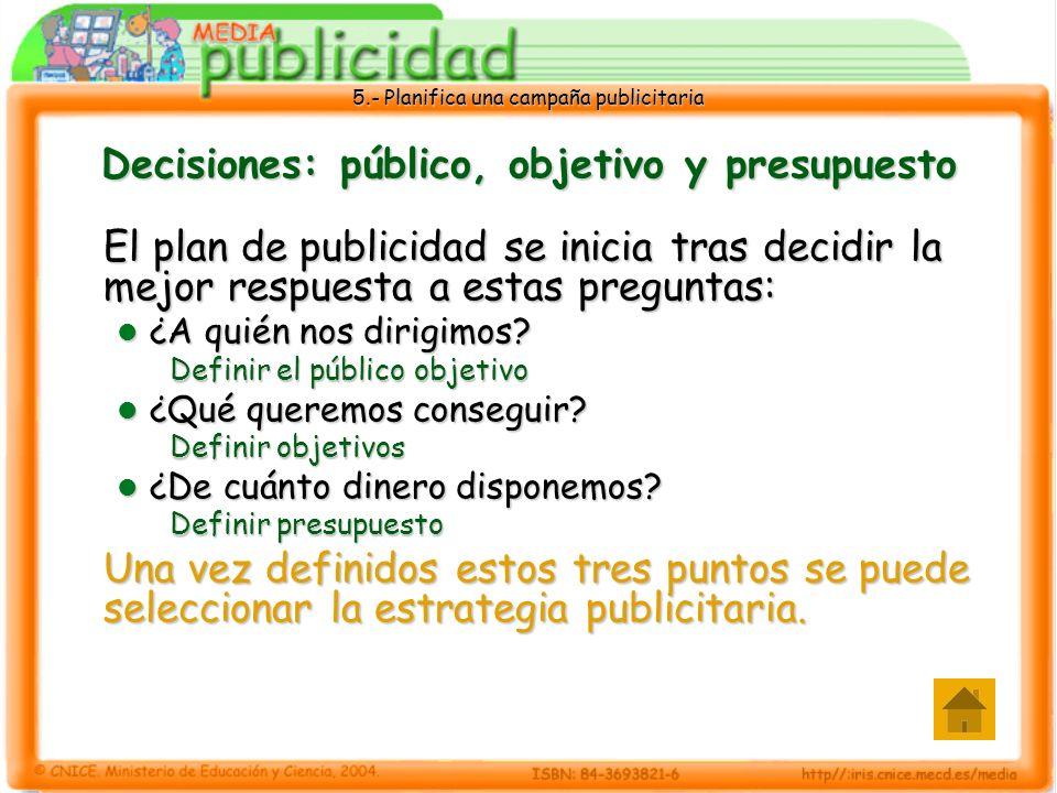 Decisiones: público, objetivo y presupuesto