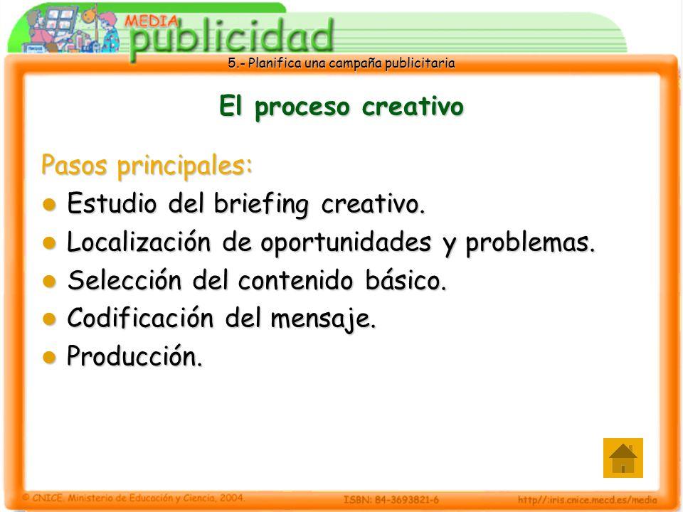 El proceso creativo Pasos principales: Estudio del briefing creativo. Localización de oportunidades y problemas.