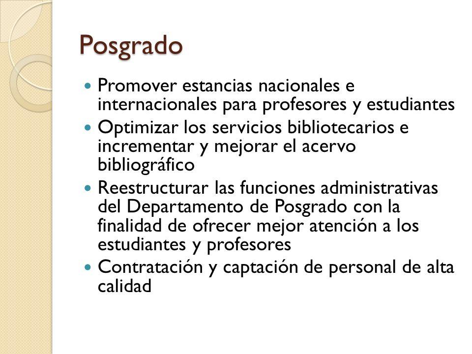 Posgrado Promover estancias nacionales e internacionales para profesores y estudiantes.