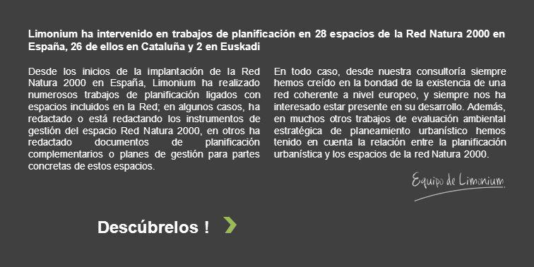 Limonium ha intervenido en trabajos de planificación en 28 espacios de la Red Natura 2000 en España, 26 de ellos en Cataluña y 2 en Euskadi