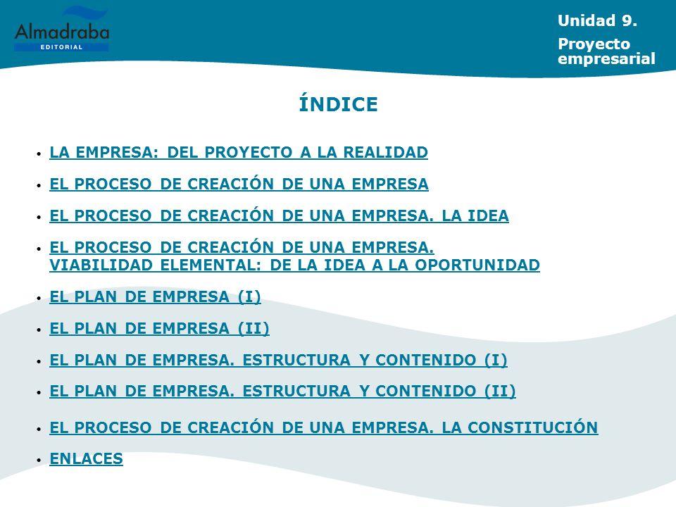 ÍNDICE Unidad 9. Proyecto empresarial