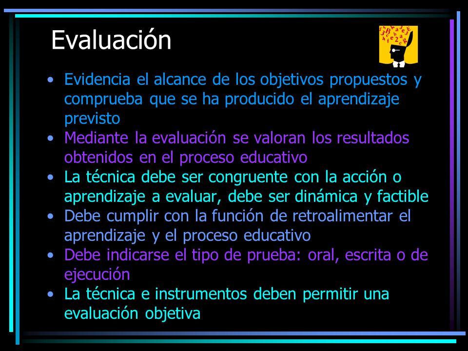 Evaluación Evidencia el alcance de los objetivos propuestos y comprueba que se ha producido el aprendizaje previsto.