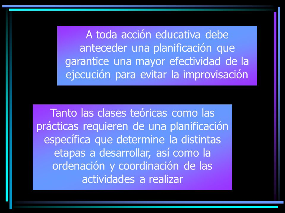 A toda acción educativa debe anteceder una planificación que garantice una mayor efectividad de la ejecución para evitar la improvisación