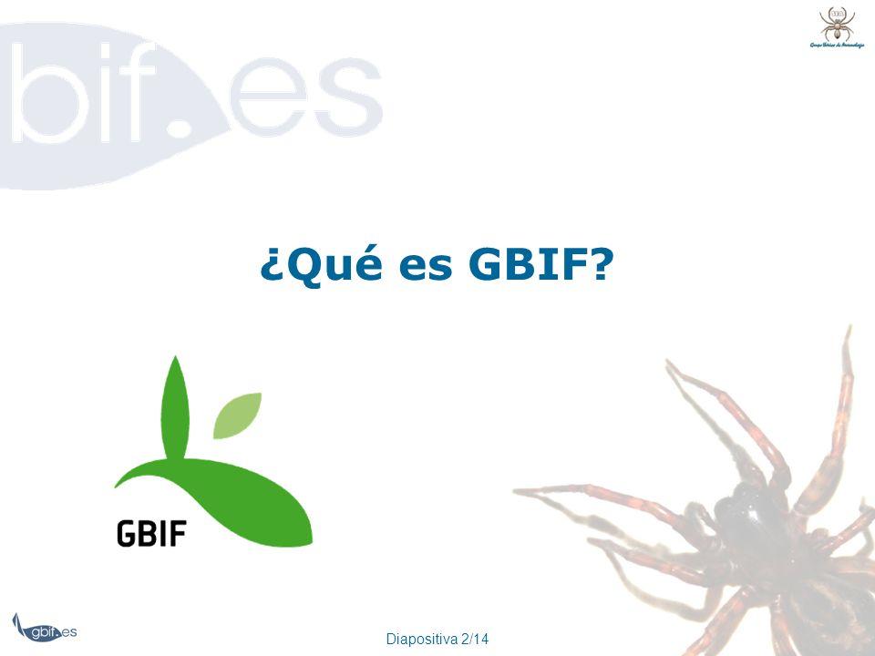 ¿Qué es GBIF Diapositiva 2/14
