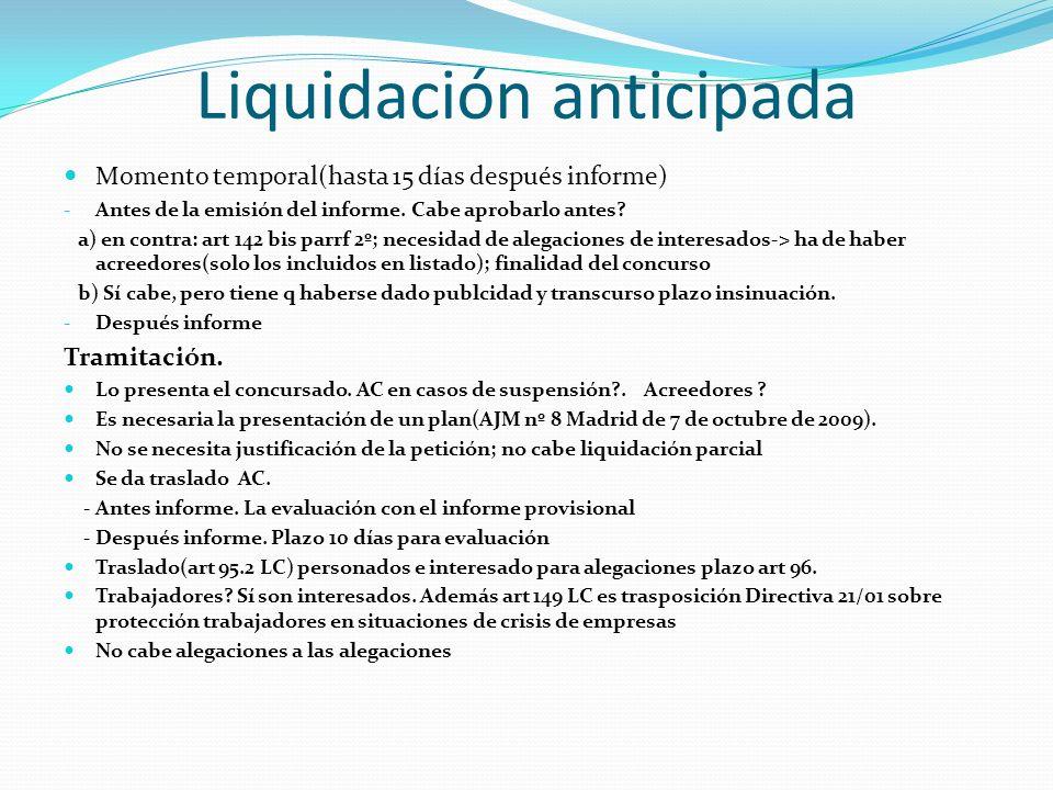 Liquidación anticipada