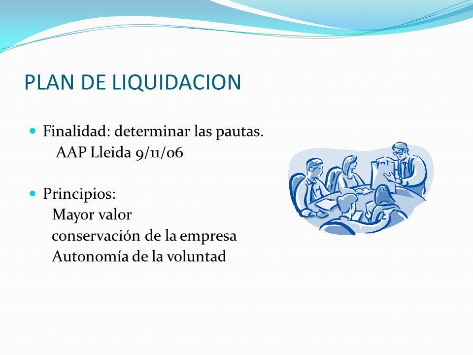 PLAN DE LIQUIDACION Finalidad: determinar las pautas.