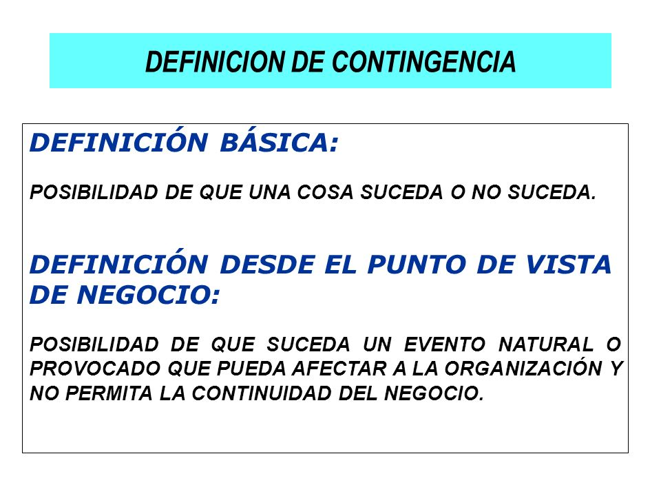 DEFINICION DE CONTINGENCIA