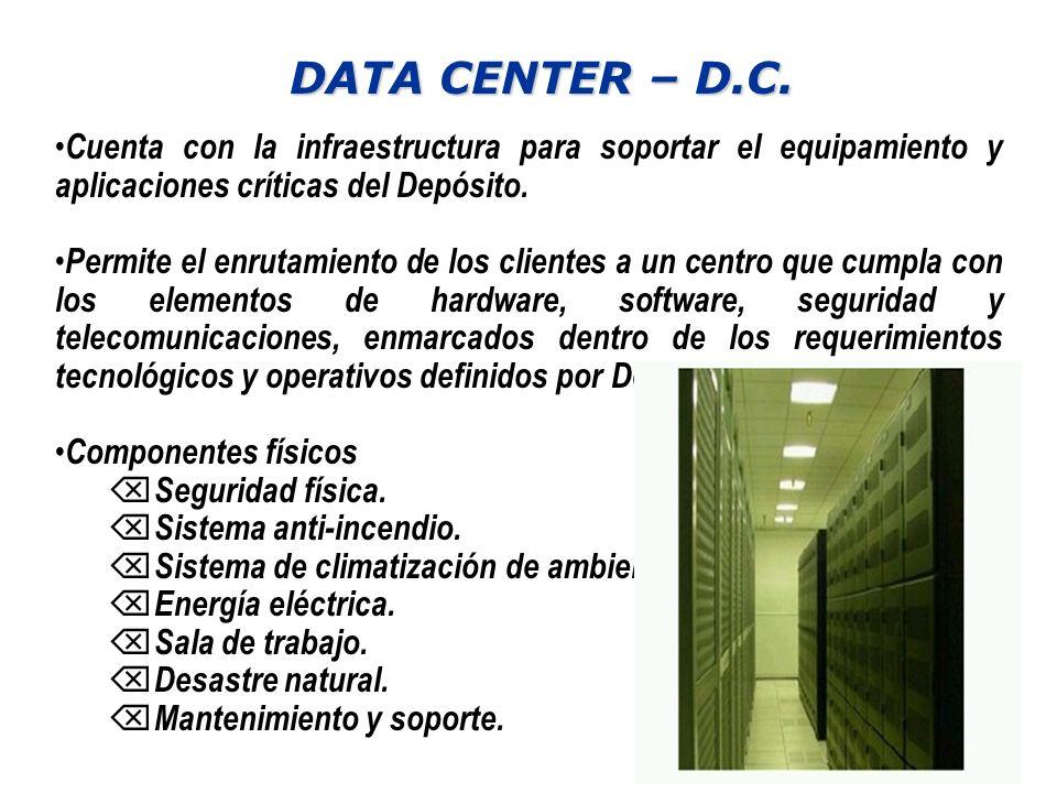 DATA CENTER – D.C. Cuenta con la infraestructura para soportar el equipamiento y aplicaciones críticas del Depósito.