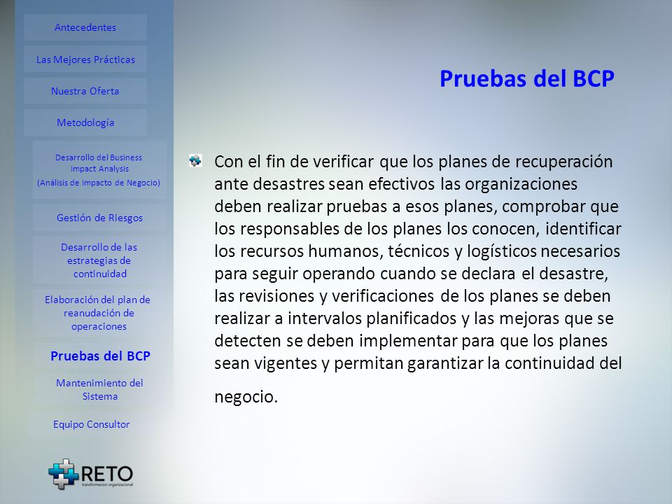 Antecedentes Pruebas del BCP. Las Mejores Prácticas. Nuestra Oferta. Metodología. Desarrollo del Business.