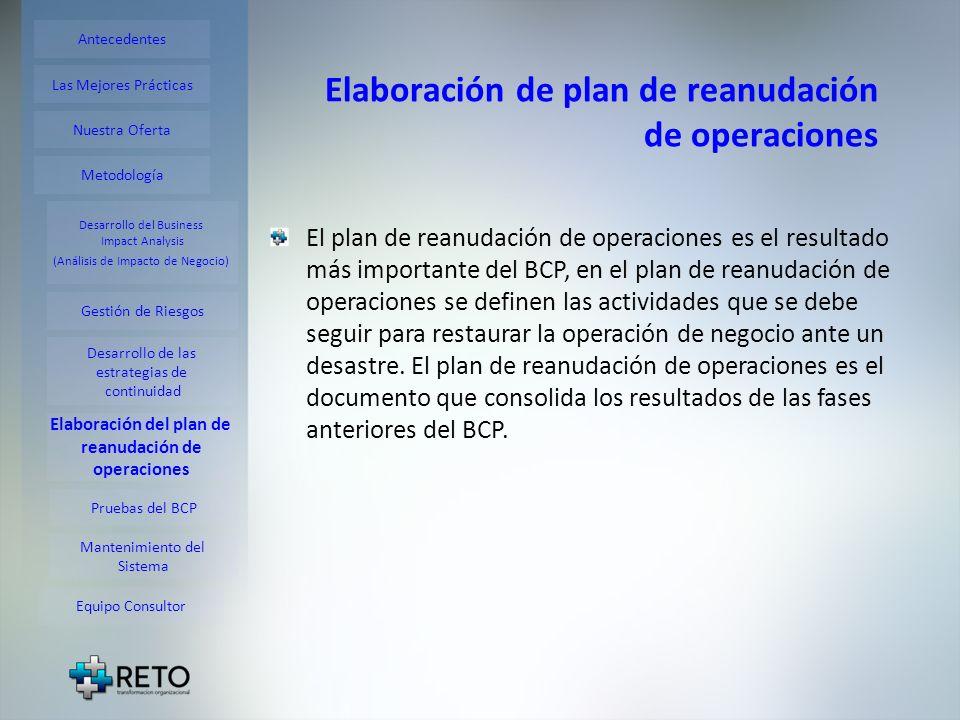 Elaboración de plan de reanudación de operaciones