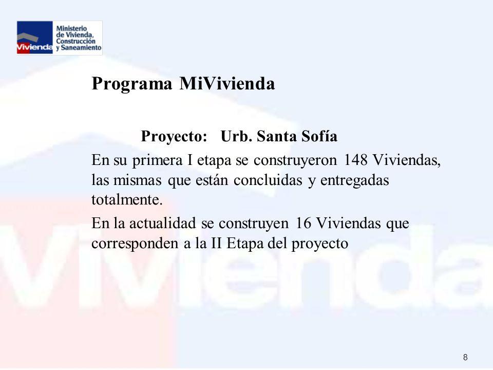 Programa MiVivienda Proyecto: Urb. Santa Sofía.