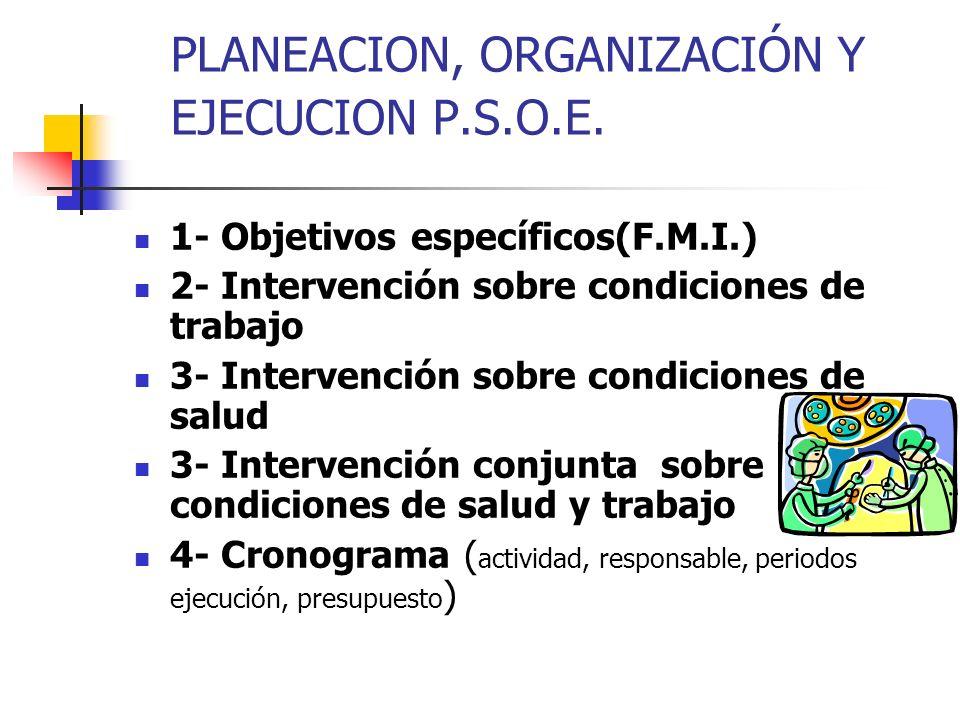 PLANEACION, ORGANIZACIÓN Y EJECUCION P.S.O.E.