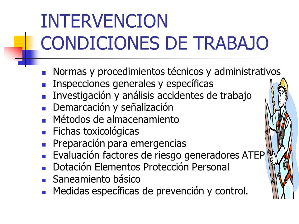 INTERVENCION CONDICIONES DE TRABAJO