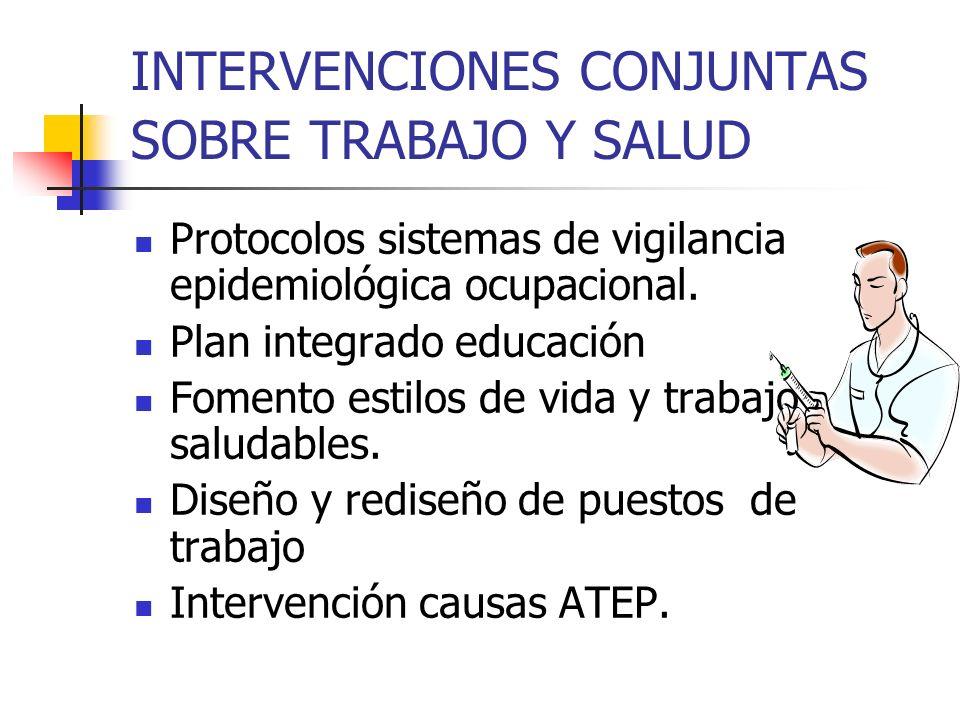 INTERVENCIONES CONJUNTAS SOBRE TRABAJO Y SALUD