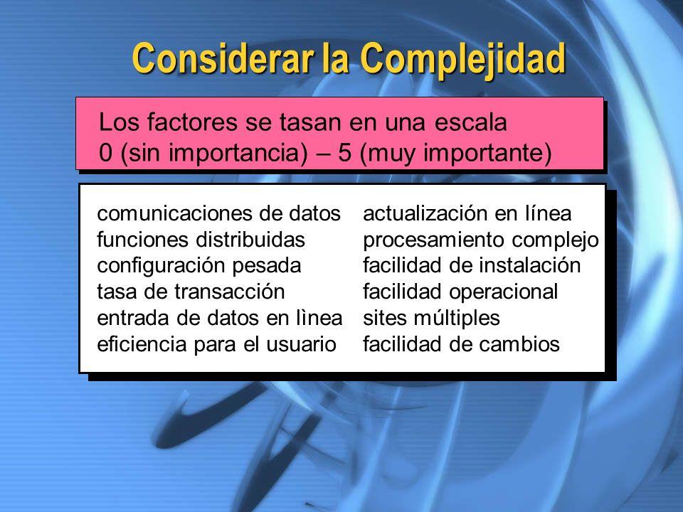 Considerar la Complejidad