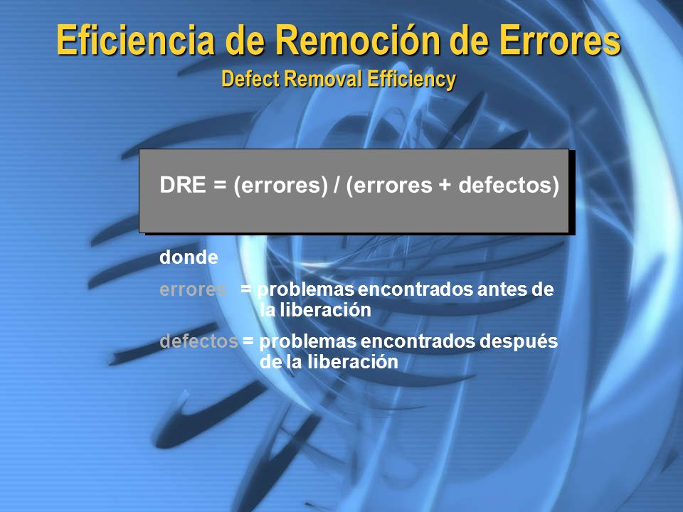 Eficiencia de Remoción de Errores Defect Removal Efficiency