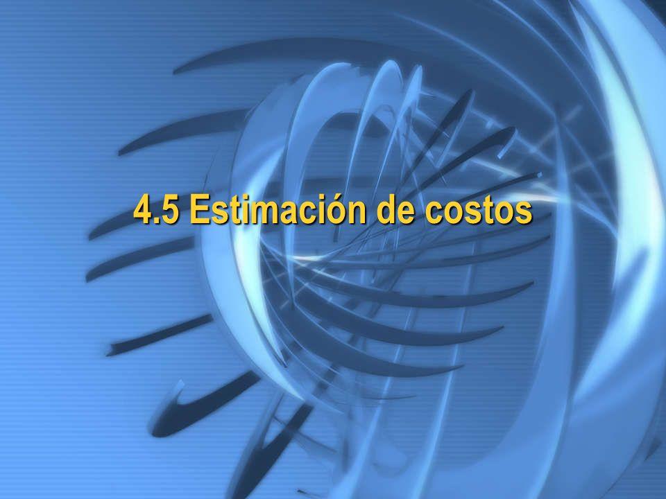 4.5 Estimación de costos