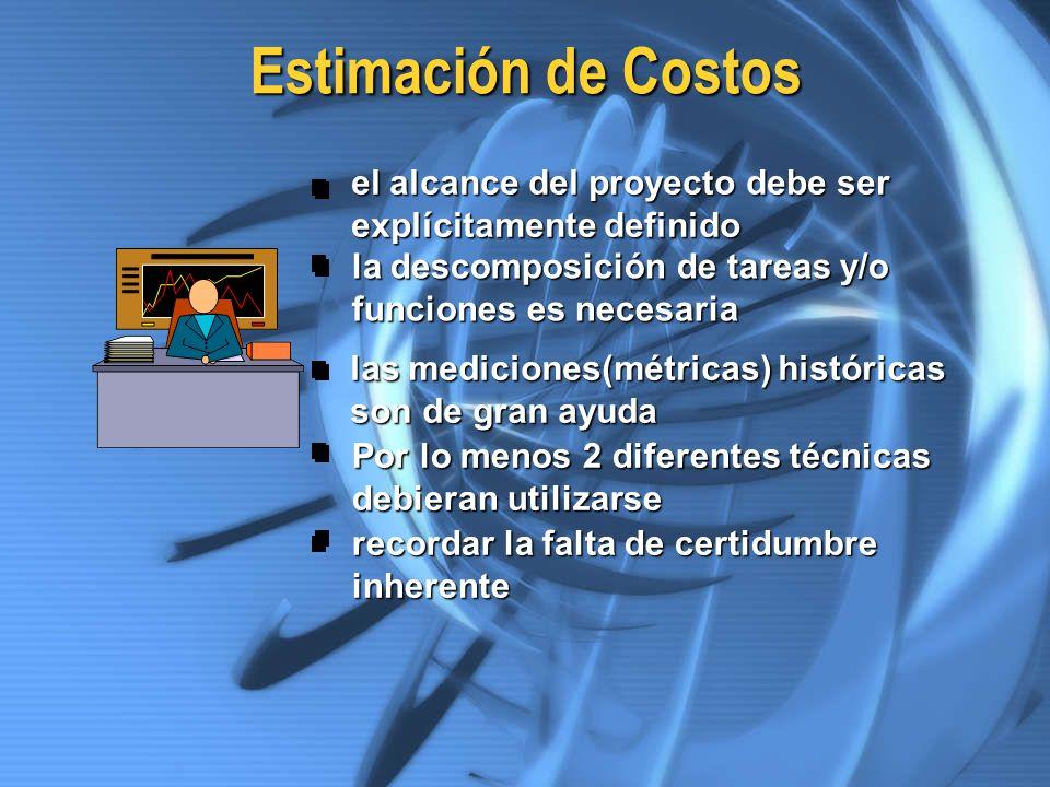 Estimación de Costos el alcance del proyecto debe ser