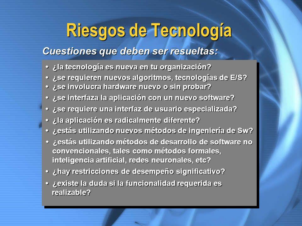 Riesgos de Tecnología Cuestiones que deben ser resueltas: