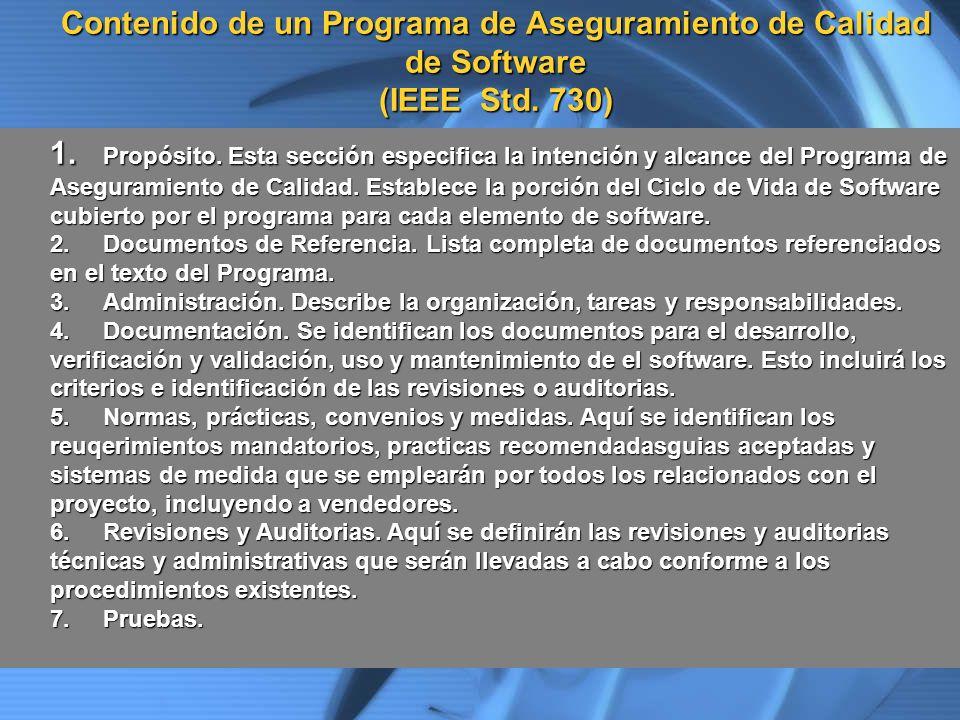 Contenido de un Programa de Aseguramiento de Calidad de Software (IEEE Std. 730)