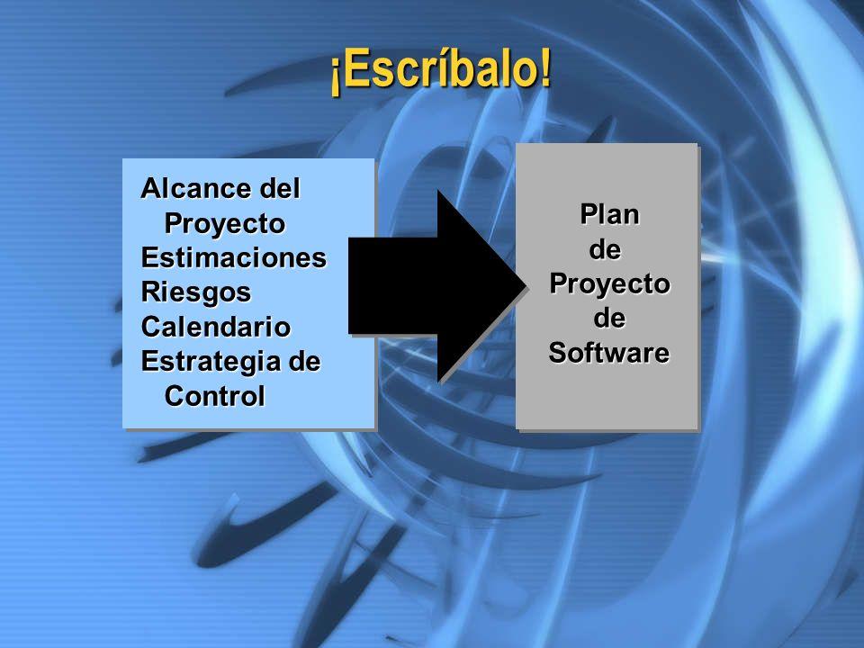 ¡Escríbalo! Alcance del Proyecto Plan Estimaciones de Riesgos Proyecto