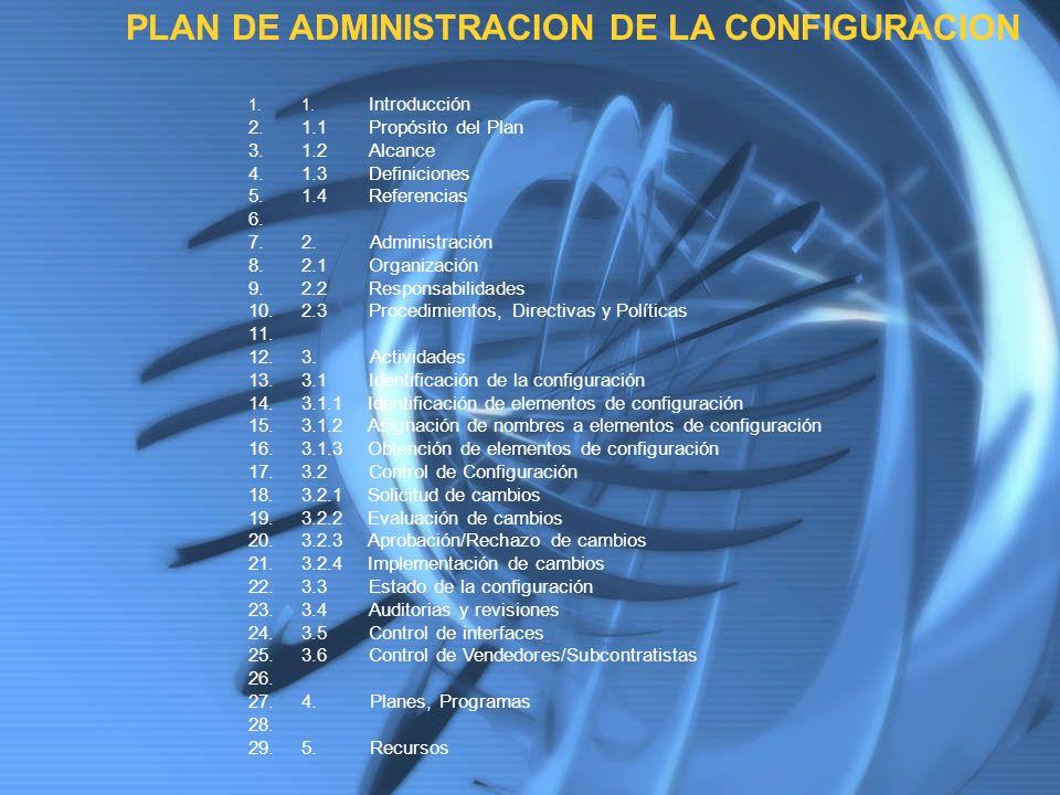 PLAN DE ADMINISTRACION DE LA CONFIGURACION