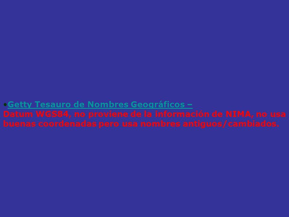 Getty Tesauro de Nombres Geográficos –