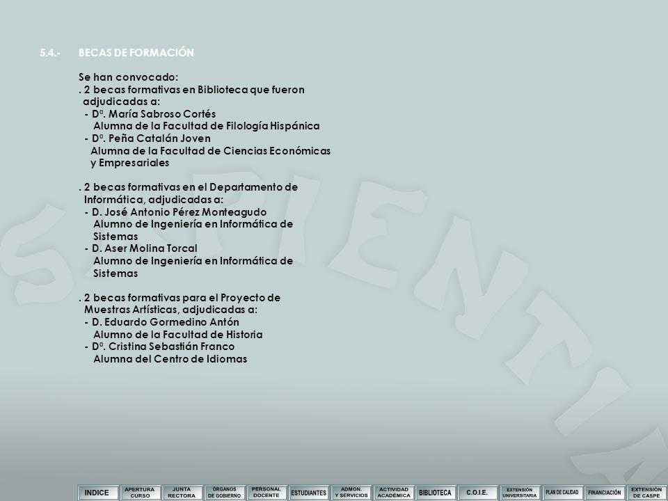5.4.- BECAS DE FORMACIÓN Se han convocado: . 2 becas formativas en Biblioteca que fueron. adjudicadas a: