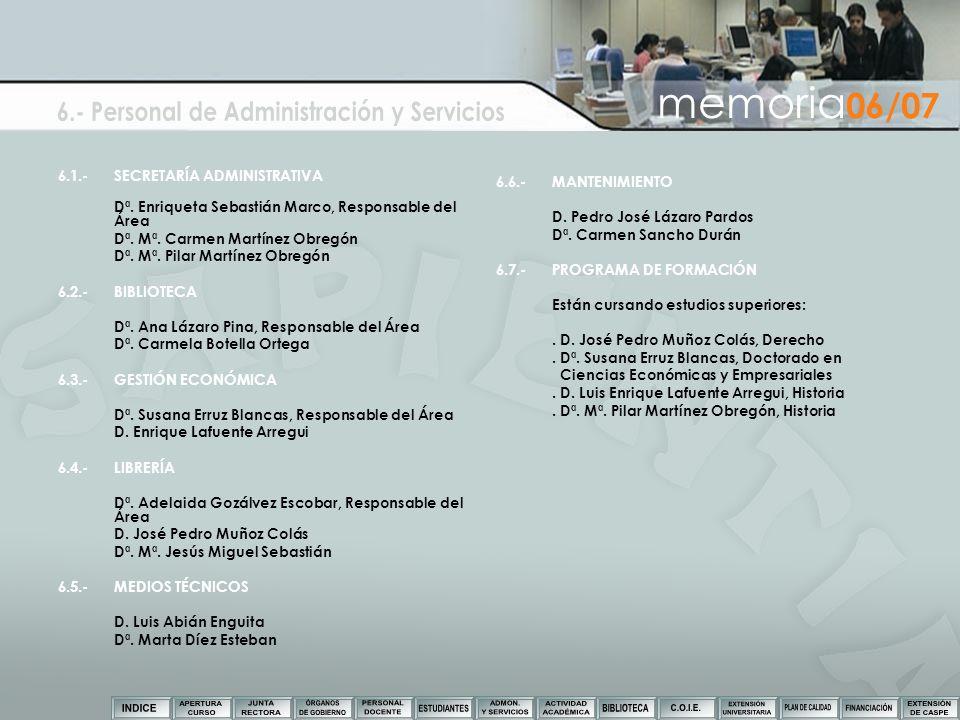6.- Personal de Administración y Servicios