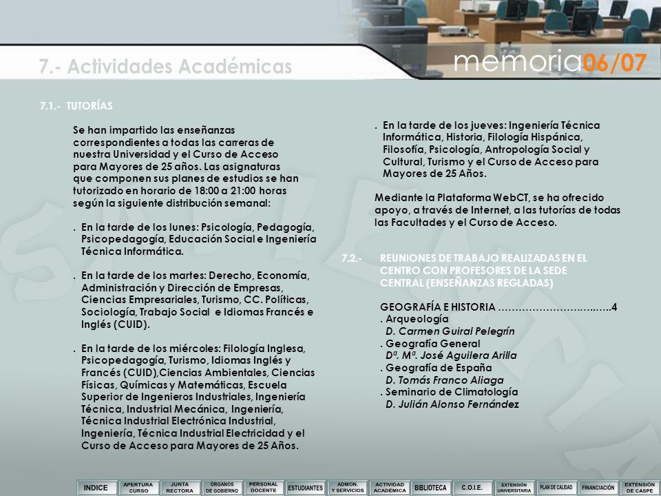 7.- Actividades Académicas
