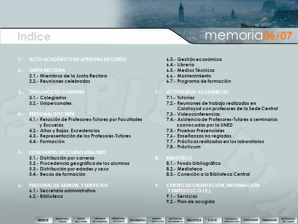 Indice memoria06/07 1.- ACTO ACADÉMICO DE APERTURA DE CURSO