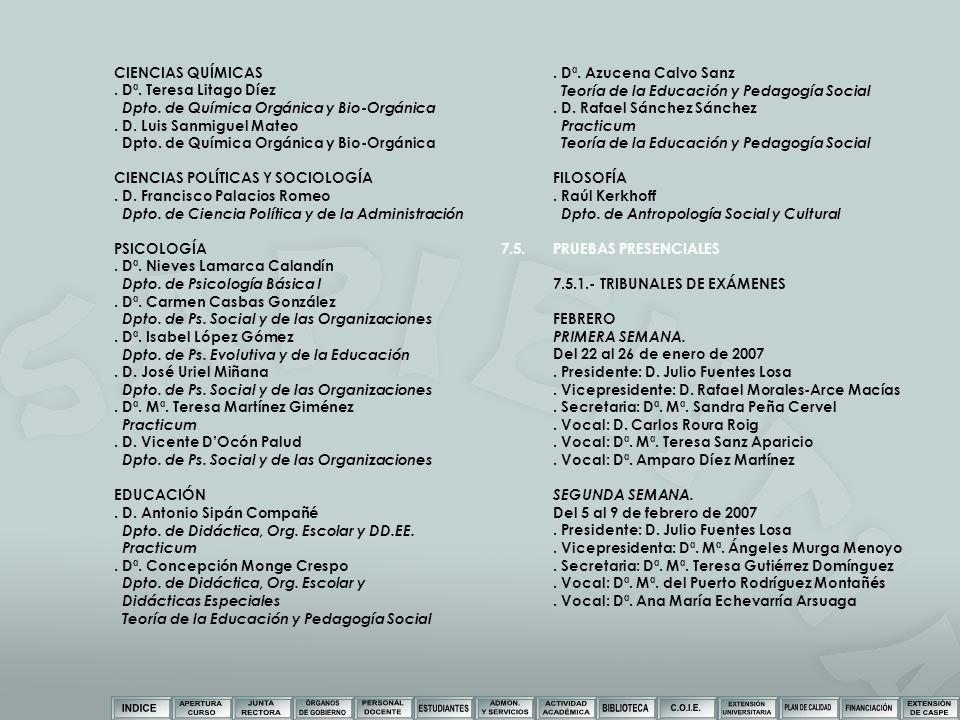 CIENCIAS QUÍMICAS . Dª. Teresa Litago Díez. Dpto. de Química Orgánica y Bio-Orgánica. . D. Luis Sanmiguel Mateo.