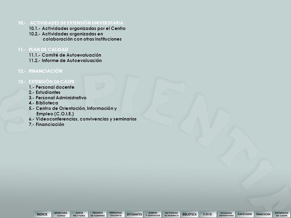 10.- ACTIVIDADES DE EXTENSIÓN UNIVERSITARIA