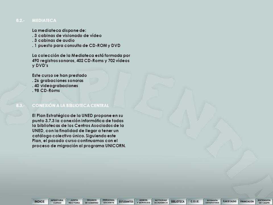 8.2.- MEDIATECA La mediateca dispone de: . 3 cabinas de visionado de vídeo. . 3 cabinas de audio.