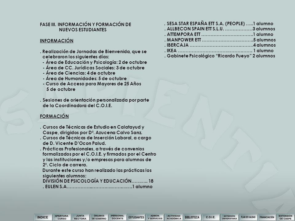 FASE III. INFORMACIÓN Y FORMACIÓN DE