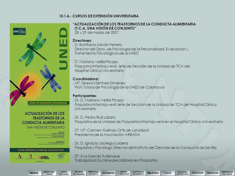 10.1.4.- CURSOS DE EXTENSIÓN UNIVERSITARIA