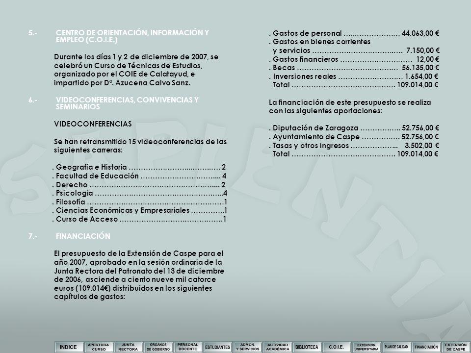5.- CENTRO DE ORIENTACIÓN, INFORMACIÓN Y EMPLEO (C.O.I.E.)
