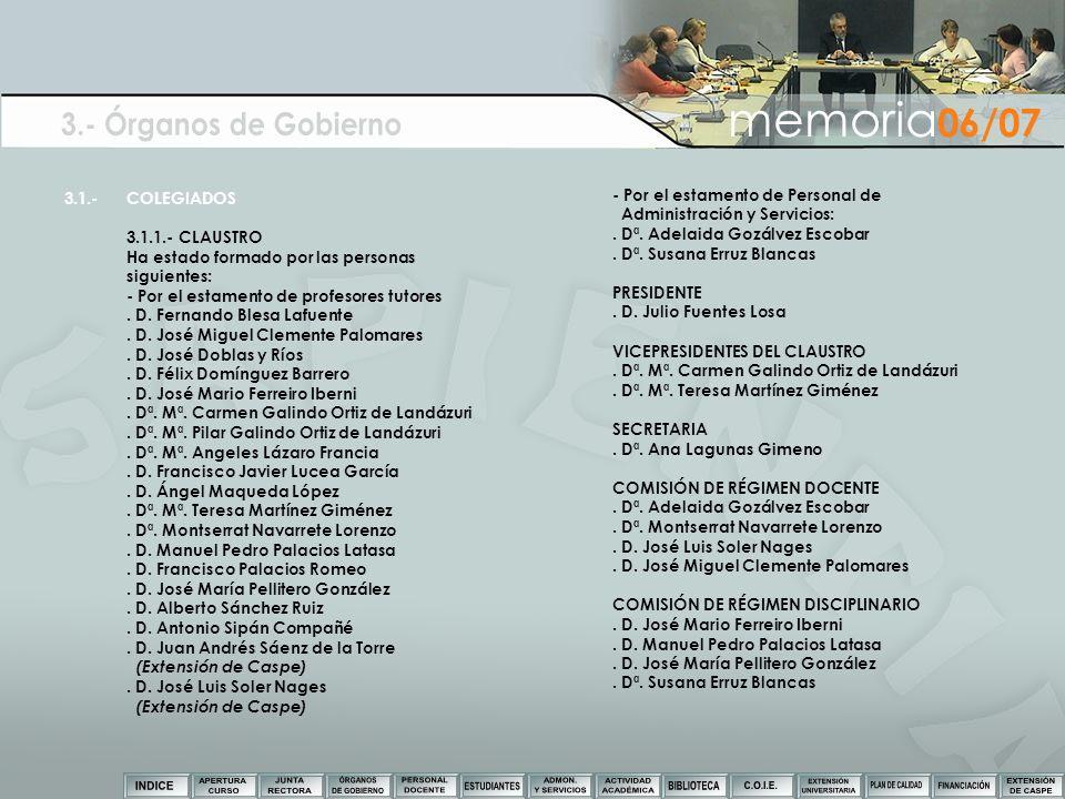 3.- Órganos de Gobierno memoria06/07 3.1.- COLEGIADOS
