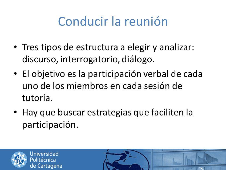 Conducir la reunión Tres tipos de estructura a elegir y analizar: discurso, interrogatorio, diálogo.