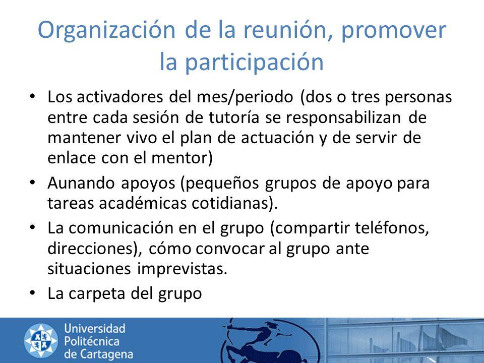 Organización de la reunión, promover la participación