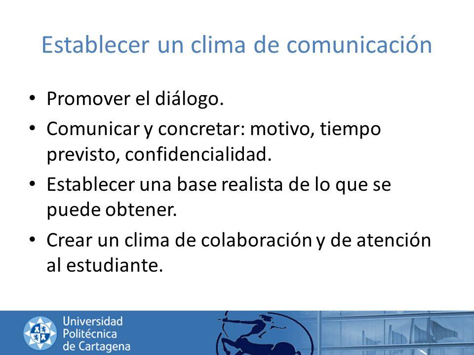 Establecer un clima de comunicación