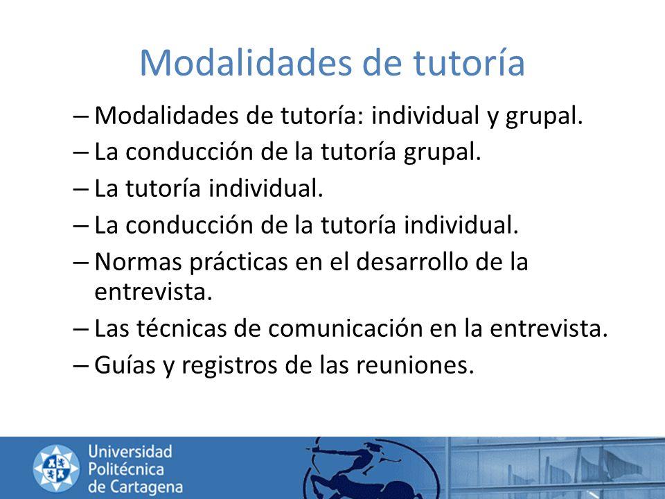 Modalidades de tutoría
