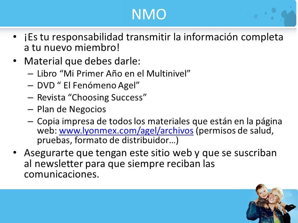 NMO ¡Es tu responsabilidad transmitir la información completa a tu nuevo miembro! Material que debes darle:
