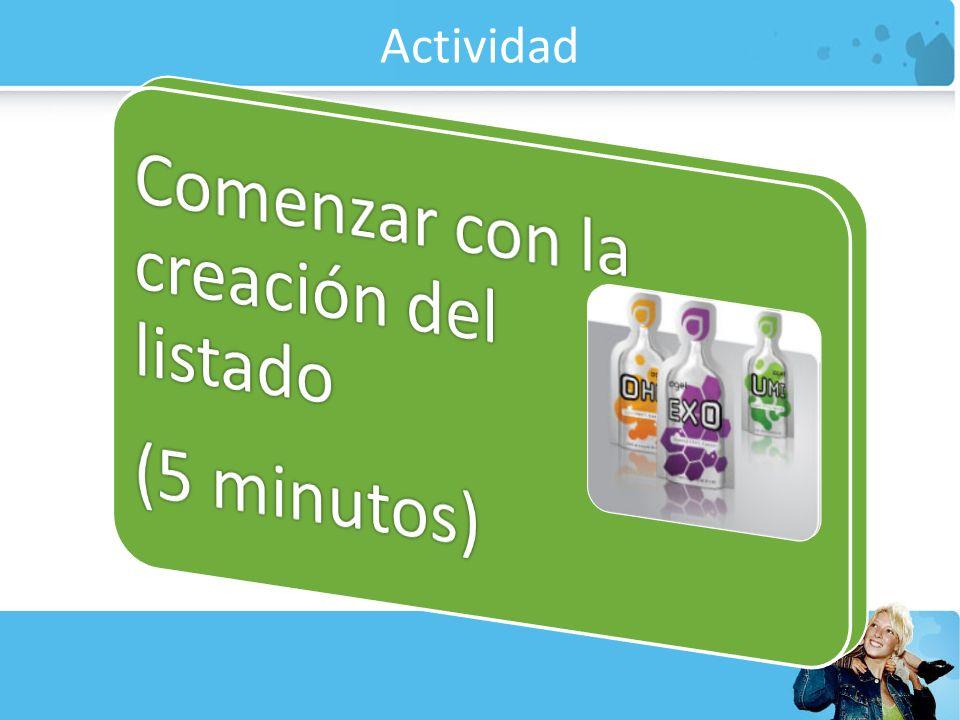 Actividad (5 minutos) Comenzar con la creación del listado