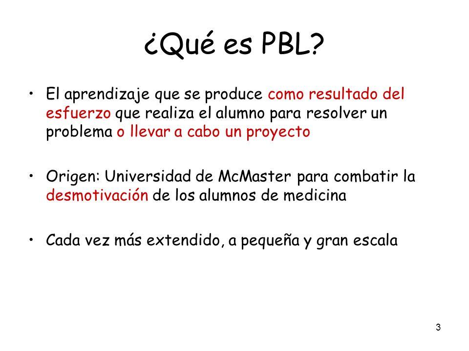 ¿Qué es PBL El aprendizaje que se produce como resultado del esfuerzo que realiza el alumno para resolver un problema o llevar a cabo un proyecto.